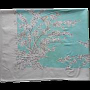 Aqua Print Vintage Tablecloth Kitchen TLC