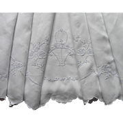 Linen Sheet Vintage Madeira Hand Embroidered Cutwork TLC