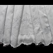 Linen Sheet Vintage Madeira Hand Embroidered Cutwork TLC