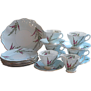 Dessert Service Foley Highland Heather Bone China Vintage Cups Saucers Tea Plates
