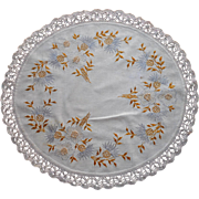 Antique Hand Embroidered Centerpiece Doily Corn Flowers Lace Centaurea Montana