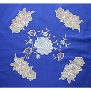1920s Tea Tablecloth Napkins Set Unused Vintage Bright Blue Lace Inserts Embroidery