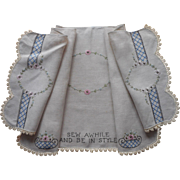 Antique Sewing Machine Table Cover Hand Embroidered Linen Runner For Treadle Type