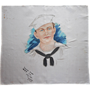 Hand Painted Silk US Navy Sailor Portrait Hankie Scarf 1951 Japan Yokosuka