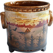 Czech Erphila Pottery Vintage 1920s to 1930s Condensed Milk Jar Pot Cabin In Woods