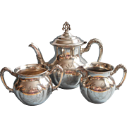 Monogram T Victorian Tea Set Silver Plated Antique TLC