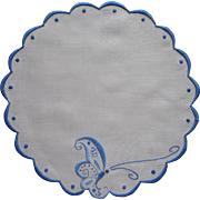 Art Nouveau Antique Doily Hand Embroidery Blue Work Linen