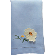 Guest Towel Vintage Blue Linen Organdy Black Eyed Susan Flower