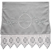 Monogram P Antique Runner Lace Hand Embroidery Cutwork TLC