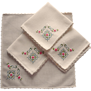 Hand Embroidered Vintage Tea Napkins Pink Blue French Knots Set 4