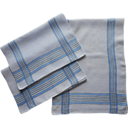 Vintage 1920s  Linen Towels Blue Striped Plaid Borders Set 3