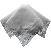Vintage Hankie Linen Lace All White
