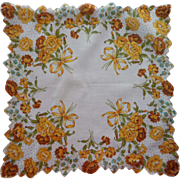 Vintage Hankie Unused Printed Cotton Yellow Carnations Bows