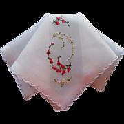 Vintage Hankie Hand Embroidered Unused Pink Rosebuds