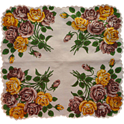 Vintage Hankie Printed Cotton Unused Yellow Brown Roses