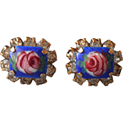 Vintage Enamel Rhinestones Pierced Earrings Blue Pink Roses