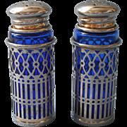Cobalt Blue Glass Silver Plated Frames Salt Pepper Shakers Vintage