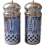 Cobalt Blue Glass Silver Plated Pierced Frames Vintage Salt Pepper Shakers