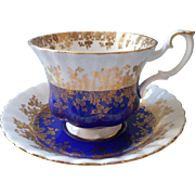Royal Albert Regal Series Cobalt Blue Gold Cup Saucer Vintage Bone China English