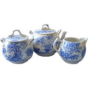 Antique Chinese Small Tea Set Blue Hand Painted White China 1900s to 1920