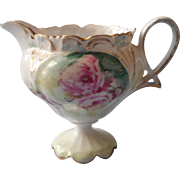 R. S. Prussia Antique China Creamer Cream Pitcher Pink Poppies Mold 607