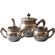 Victorian Tea Set Antique Silver Plated Worn But Ornate Handles Spouts