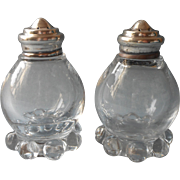 Imperial Candlewick Glass Shakers Sterling Silver Lids Vintage Salt Pepper