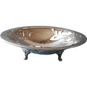 Poppies Silver Plated Footed Candy Nut Bowl Vintage Gala Pattern Oneida