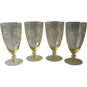 Lancaster Jubilee Yellow Iced Tea Goblets Glasses Water Vintage Elegant Glass - Red Tag Sale Item