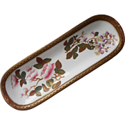 Royal Worcester Hand Painted China Vanity Dish Pen Tray Dated 1883 Chinoiserie Peonies Wisteria