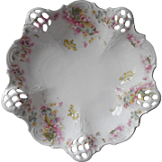 Antique China Bowl Pink Roses Pierced Decoration 3 Toe Footed Bavaria Germany
