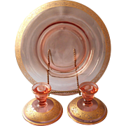 Console Set Pink Glass Gold Encrusted Rims Vintage Candlesticks Bowl Elegant Era