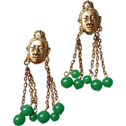 Tortolani Vintage Earrings Asian Heads Figural Green Glass Faux Jade Beads Dangle Clip
