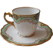 Elite Limoges Antique Demitasse Cup Saucer French China Green White Gold Black Hand Painted
