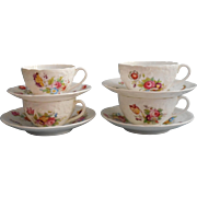 Coalport Junetime Antique China English 4 Cups 4 Saucers Hand Painted Over Violet Transfer