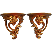 Pair Shelf Sconces Vintage Syroco Gold Hollywood Regency Dated 1970