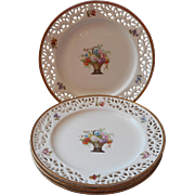 Antique Pierced Reticulated Plates China Flower Baskets 1910s Germany