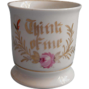 Antique Motto Mug Hand Painted Pink Rose Gold Think Of Me Friendship