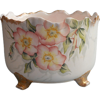 Imperial Geddo Cache Pot Ferner Antique 1890s Hand Painted China Syracuse