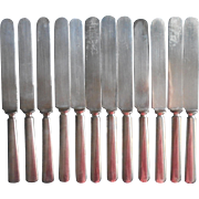 12 Antique Knives Simple Plain Classic Silver Plated Dinner