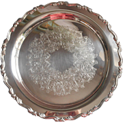 Georgian Scroll Pattern Vintage Silver Plated Round Tray Oneida