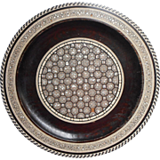 Vintage Inlaid Wood Mother Of Pearl Bone Horn Charger Plate Plaque To Hang TLC