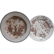 Brown Transferware Soup Bowl Plate Antique Chester Japonisme Burslem