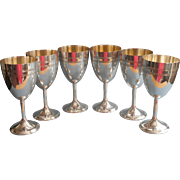 Wine Water Goblets Vintage Silver Plated Set 6 Simple Gold Wash Interior