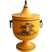 Vintage Italian Tole Metal Ice Bucket Golden Yellow Black Scene