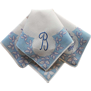 Monogram B Vintage Hankie Blue Printed Cotton