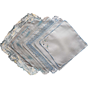 Vintage Blue Crocheted Lace Edging Hankies Hankie