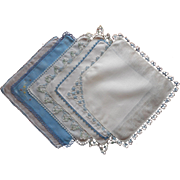 Blue Tatted Lace Trim All Vintage Hankies Linen Hankie