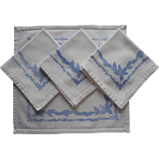 Vintage Napkins Blue Stenciled White Thick Cotton Canvas