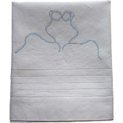 Linen Pillowcase To Finish Embroidering Vintage Drawn Work Hem